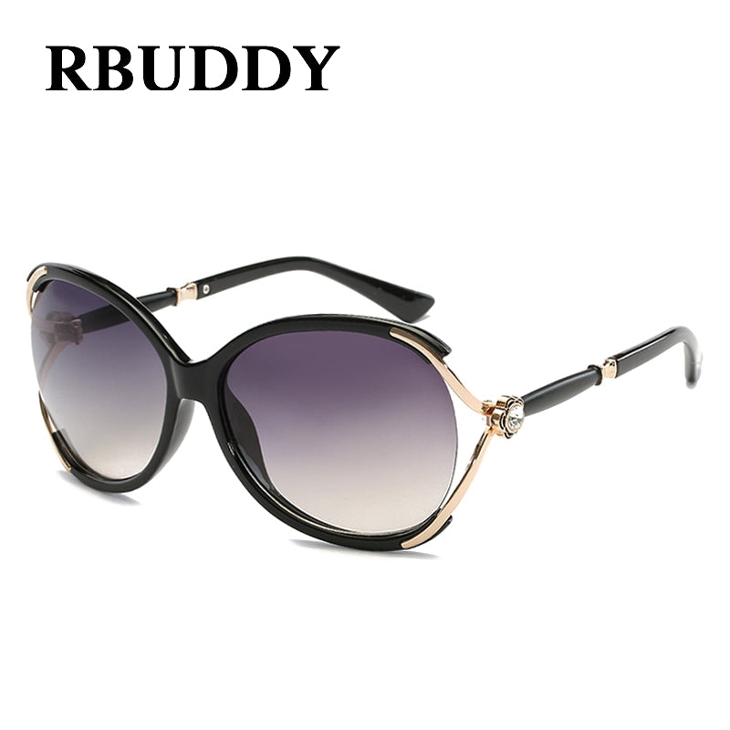 RBUDDY Sunglasses Women 2017 Butterfly Brand Designer Female Sunglass Vintage Elegant Rhinestone Points Sun Glasses For Women