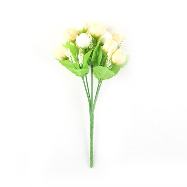 Hourong 1pc Bunch Silk Rose Flower small bud roses bract simulation flowers silk rose decorative Flowers for Wedding Home Decora