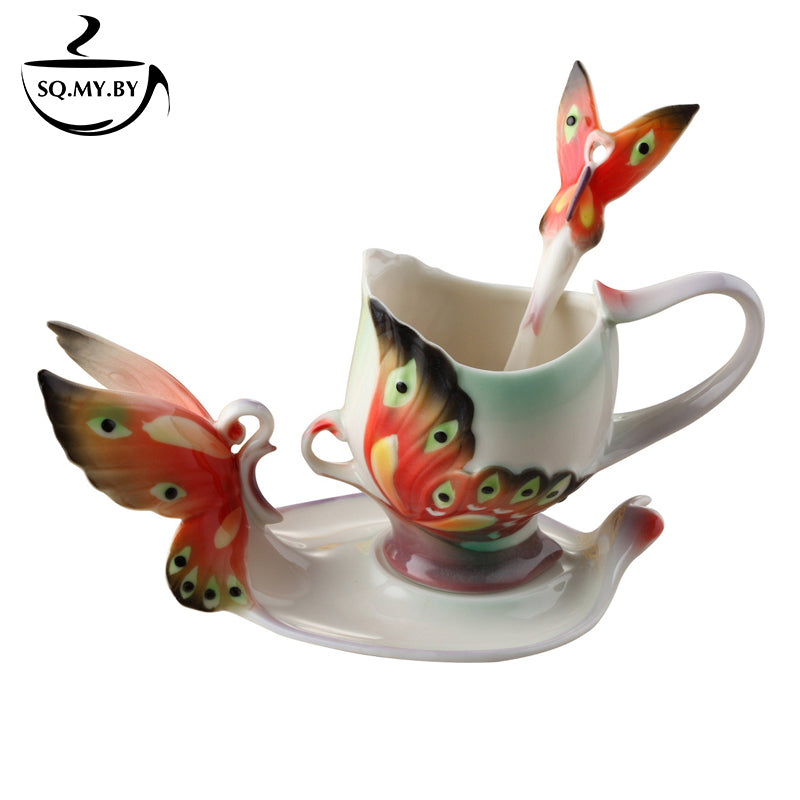 2016 New Arrival Butterfly Dancing Coffee Cup Colored Enamel Porcelain Bone China Tea Mug With Saucer And Spoon Creative Gift