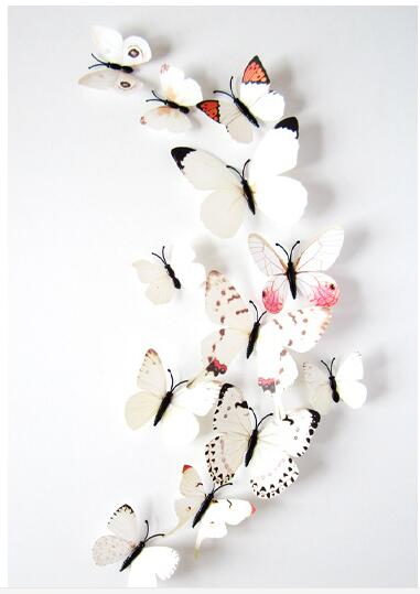 Free shipping 12pcs Art Design 3D Butterfly wedding decor Decal Wall Sticker Home Decor Room Decorations  Z1