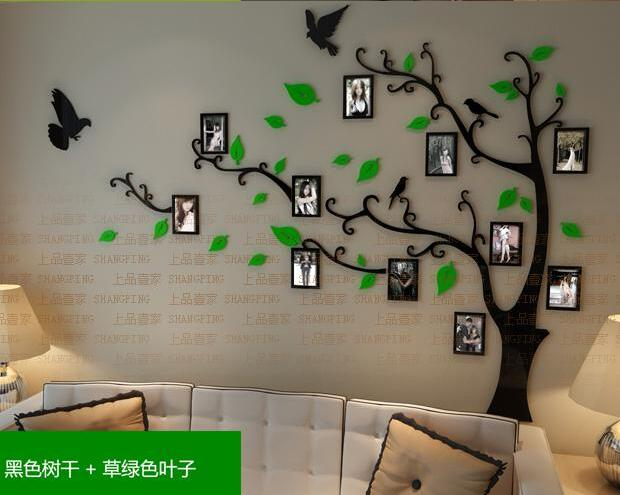 New arrival Crystal acrylic Frame tree bird Three-dimensional wall stickers TV wall sofa background decoration 3D wall stickers