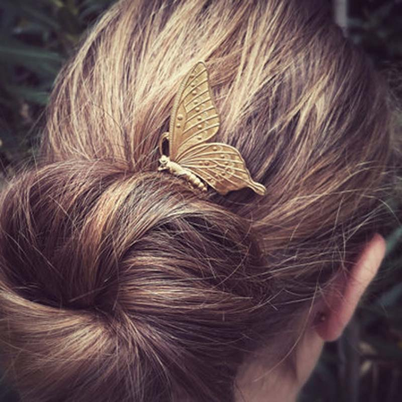 Retro Women Metal Butterfly Hair Combs Fashion Elegant Insect Shaped Hair Accessories