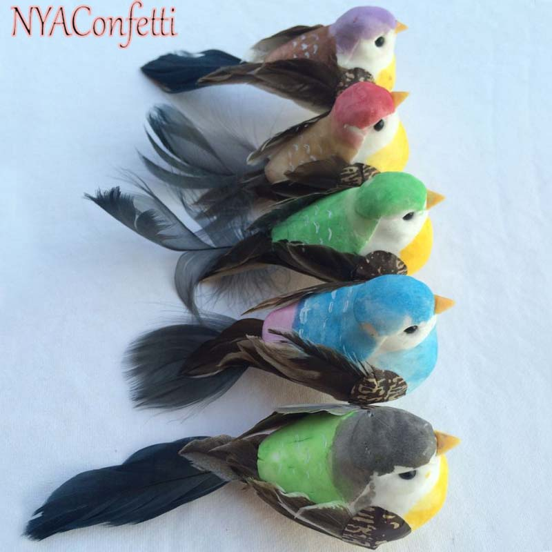 12PCS,12*4*4CM 6Colors Decorative Foam Feather Artificial Craft Birds With Clip,Fake Bird Christmas Decoration,Home Ornaments