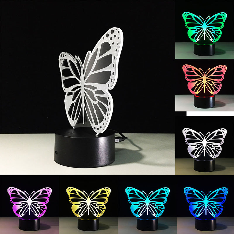 Butterfly 3D Night Light RGB Changeable Mood Lamp LED Light DC 5V USB Decorative Table Lamp nightlight