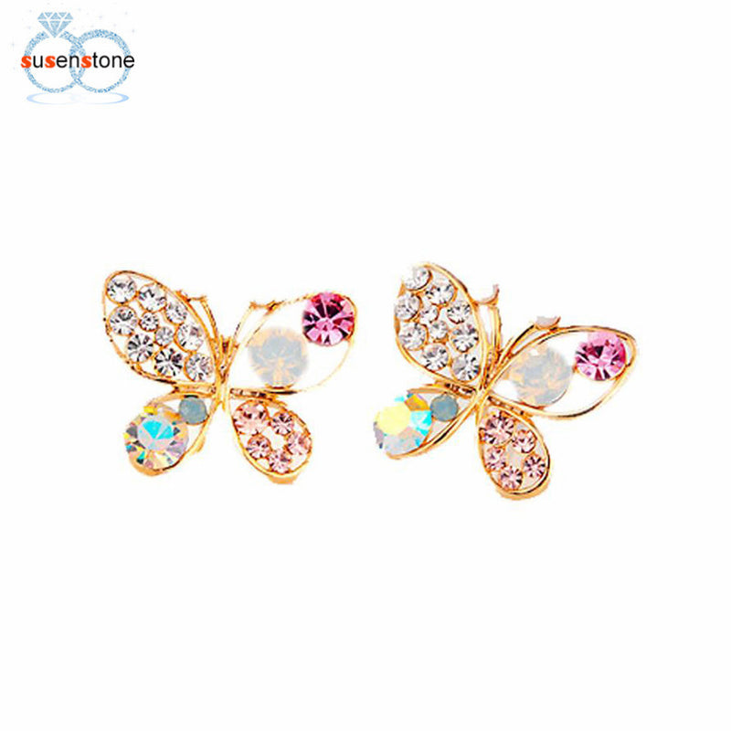 SUSENSTONE Hollow Luxury Bright Colorful Cystal Simulated Pearl Butterfly Earrings