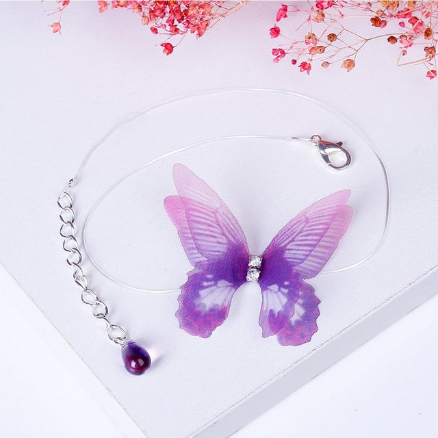 HanCheng New Fashion Rhinestone Created Crystal 3D Butterfly Choker Necklace Women Necklaces Hide Chain collar jewelry bijoux