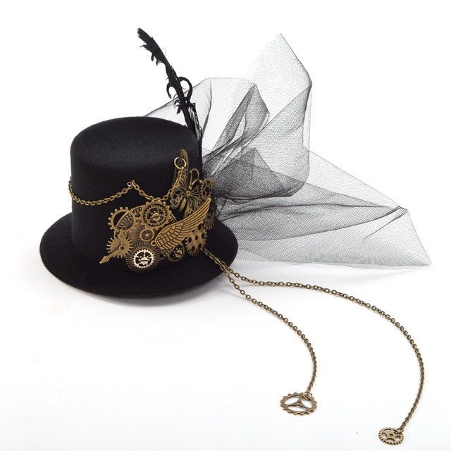 Women Steampunk Mini Top Hat Hair Clip Punk Gothic Gear Wings Clock Butterfly Decoration Headwear Hair Accessories