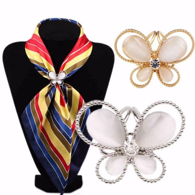 Tricyclic Butterfly Scarf Buckle Wedding Brooch Holder Scarf Jewelry Butterfly Three Silk scarf buckle #30