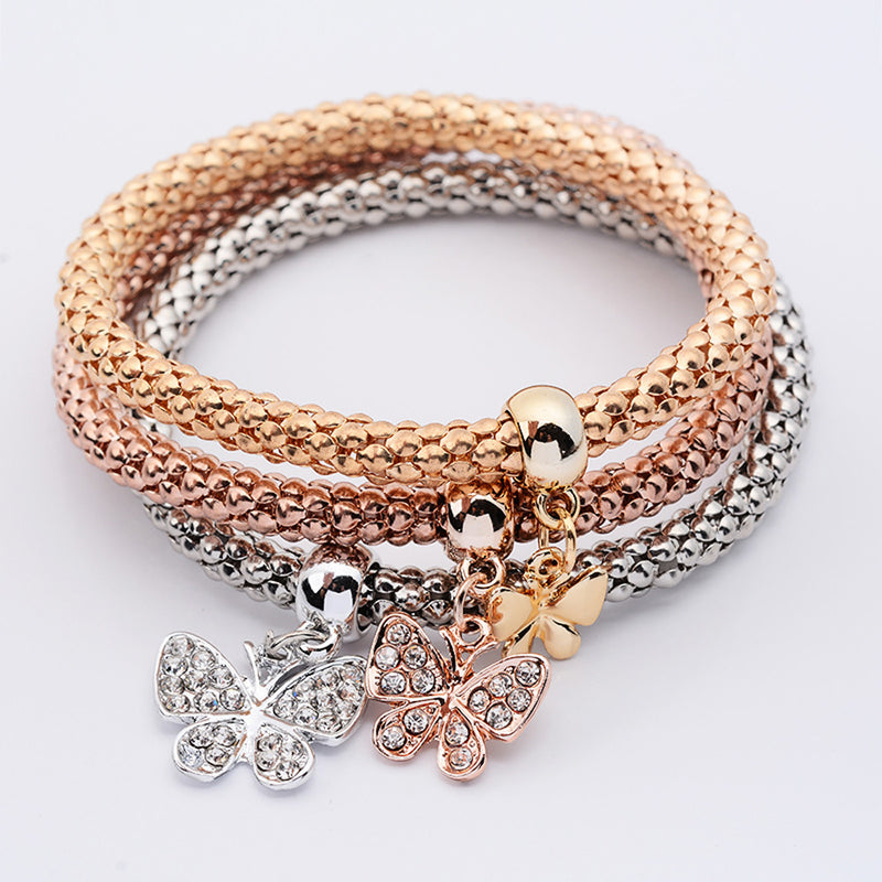 3Pcs Women Pulseiras Butterfly Pendant Bracelet Fashion Multilayer Bracelet