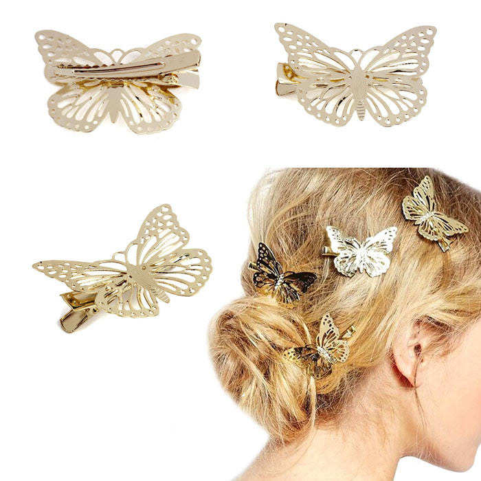 Shiny Golden Butterfly Hair Clip Headband Hair Accessories Headpiece