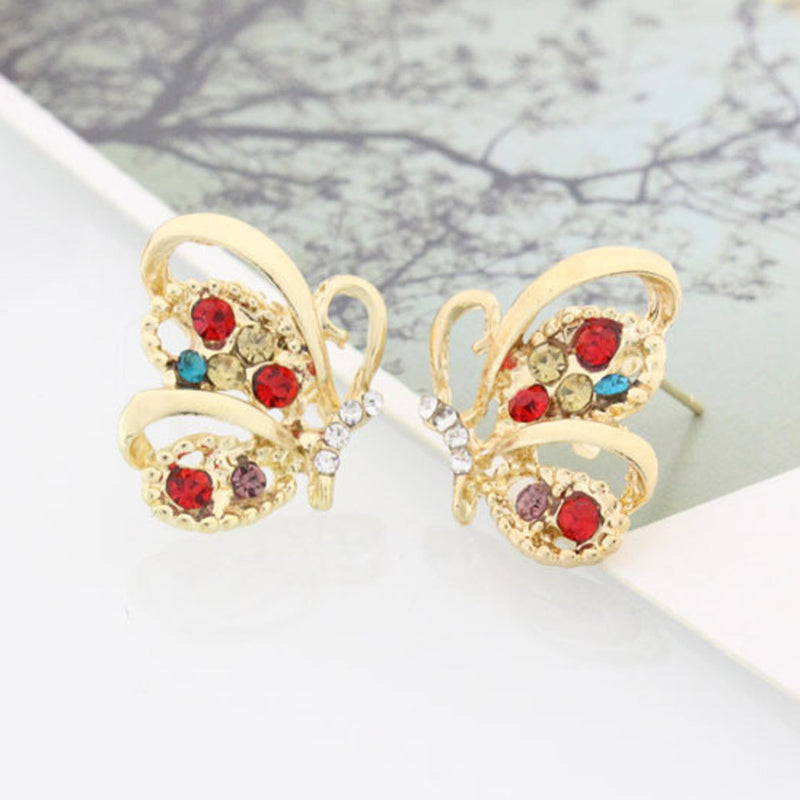 Fashion Crystal Colorful Butterfly Stud Earrings Cute Party Jewelry Inlaid Butterfly Stud Earrings #40