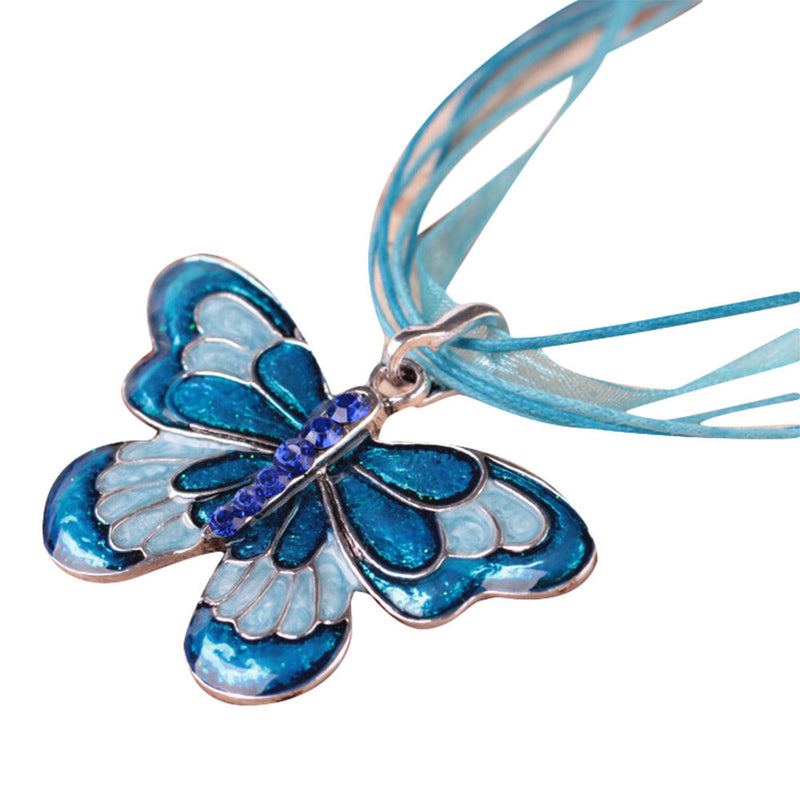 Women Fashion Jewelry Enamel Butterfly Crystal Silver Pendant Necklace Chain BK