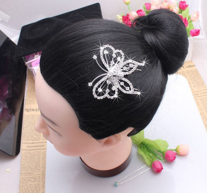 New Fashion Women Elegant Butterfly Crystal Rhinestone Hair Comb Clip
