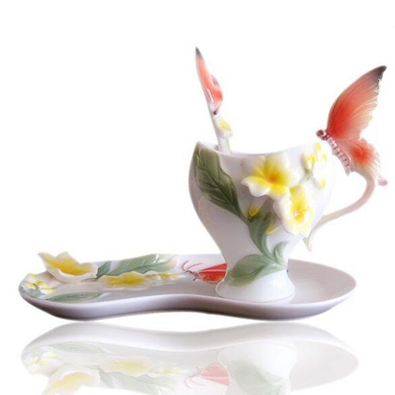Colored Enamel Coffee Mug Tazas De Cafe Creativas Cup 3D Butterfly Tea Milk Copo Bone China Creative Drinkware