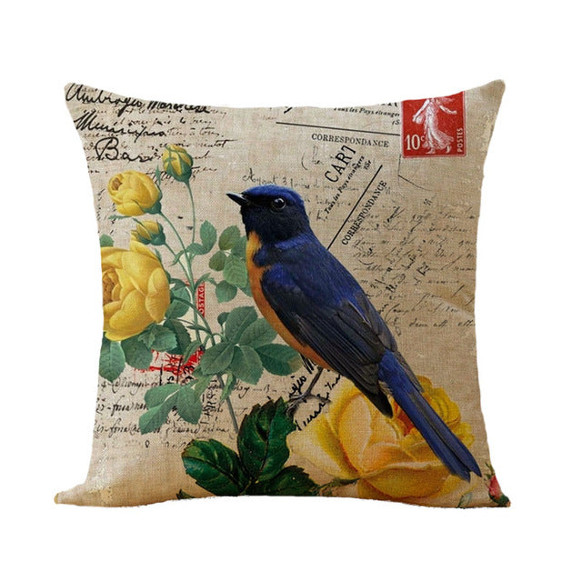 Flower Birds Cushion cover Butterfly Pillowcase sofa Decorative Cushion Cover for Sofa Home Decor Throw Pillow Case Pillows