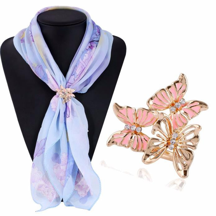 Tricyclic Three Butterfly Scarf Buckle Brooch Holder Scarf Jewelry BK
