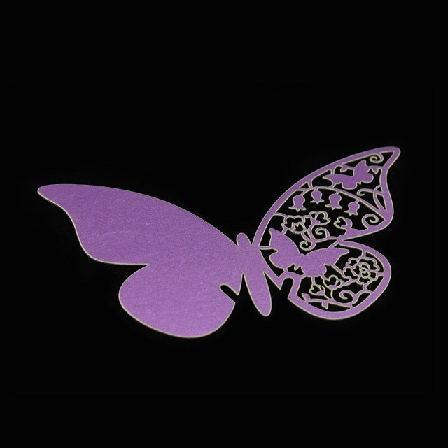 50pcs/set Wholesale Wedding Supplies  Butterfly Name Place Card Holder Wedding Party Table Wine Glass Decoration Party Event