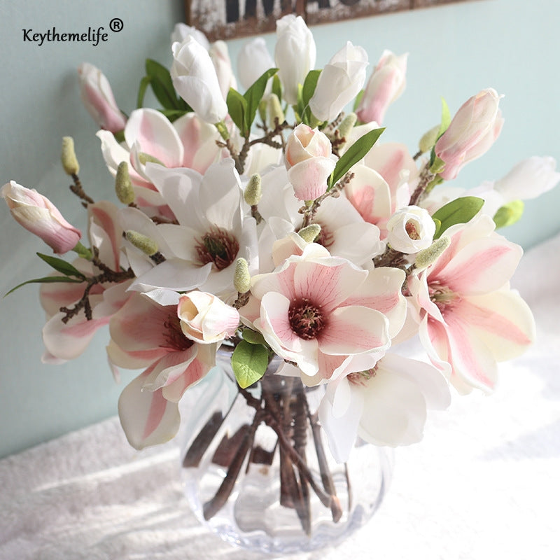 Keythemelife 1 Pcs Artificial Flowers Silk Flower Fake Leaf Magnolia Wedding Decoration Home Decor Party Christmas Ornaments FA
