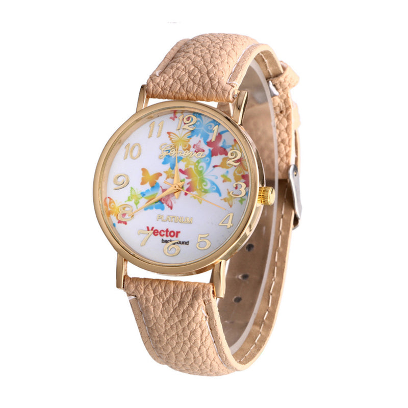 Butterfly Patterns Leather Band Analog Quartz Vogue Wrist Watches