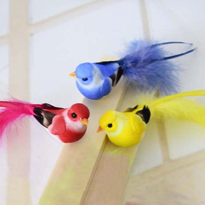 12*3CM,12PCS Fake Colorful Bird Artificial Foam Simulation Birds With Feather,Magnet,DIY Wedding Decorations,Christmas Ornaments
