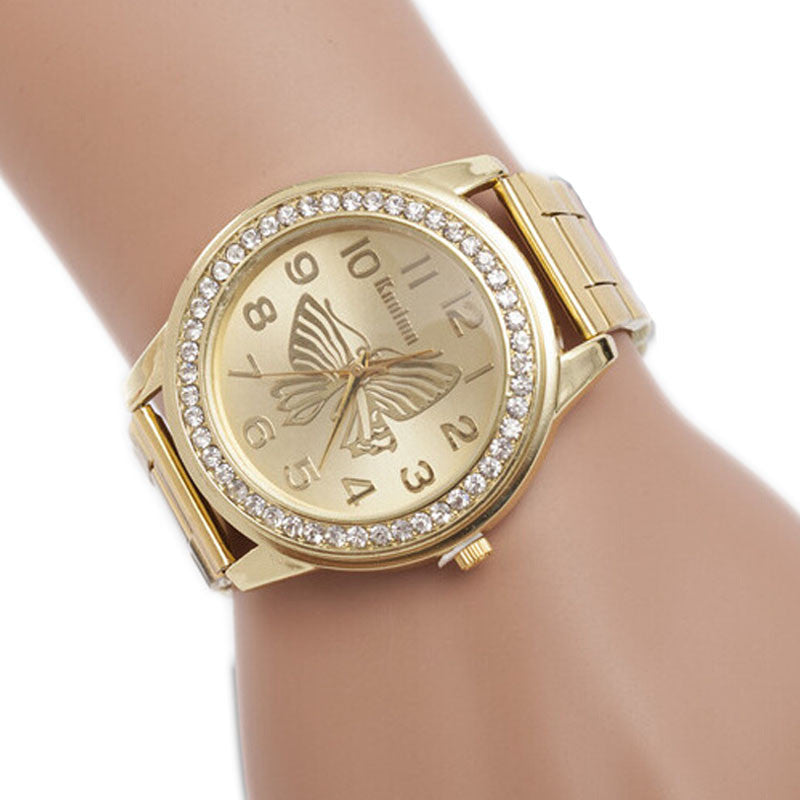 Butterfly Pattern Sport Quartz Wrist Hour Bracelet Big Dial Watches