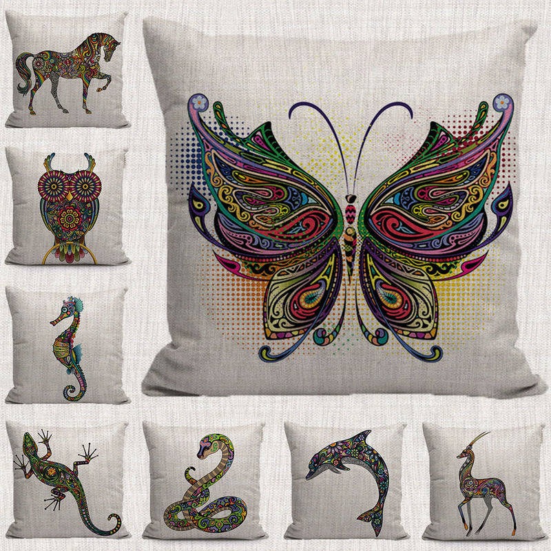 Color lines cartoon animals plants ecorative pillows cases rhinoceros deer butterfly horse throw pillow covers for sofa home