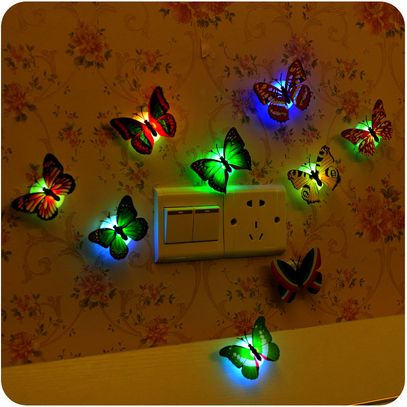 5pcs Lovely Color Changing butterfly design wall lamp Self-adhesive decorative night light Christmas Party Decoration home decor