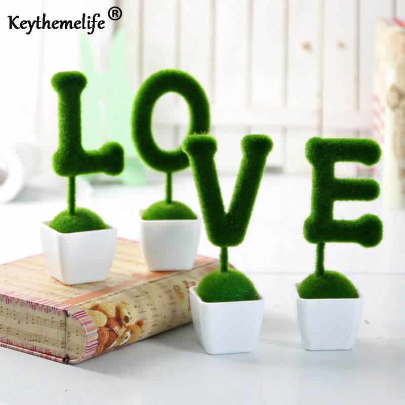 4 pcs/set Valentine's Day Present Artificial Flowers Fake Grass Ball Simulation Plant Home Decoration Wedding Ornaments FA