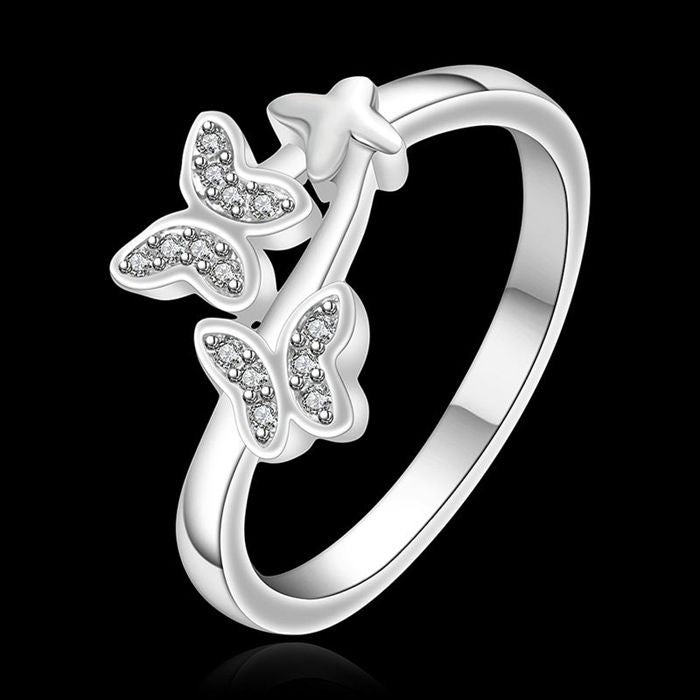 Wholesale silver plated Ring,925 Jewelry silver,Austria Crystal butterfly Ring SMTR655