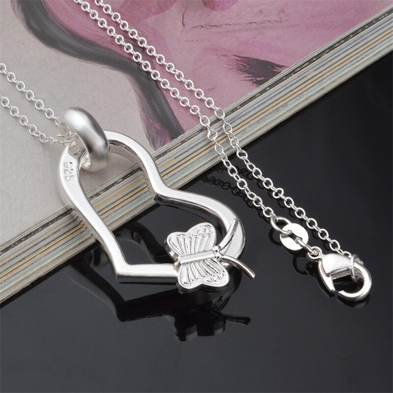 Fashion Silver Beautiful Necklaces Personality The Butterfly Heart Shaped Jewelry Women Lucky Necklace YDHP24