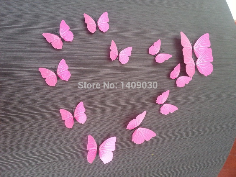 Free shipping ( 12 pcs / pack ) 3d wall stickers home decor butterfly fridge magnet kitchen decoracao wedding home decoration