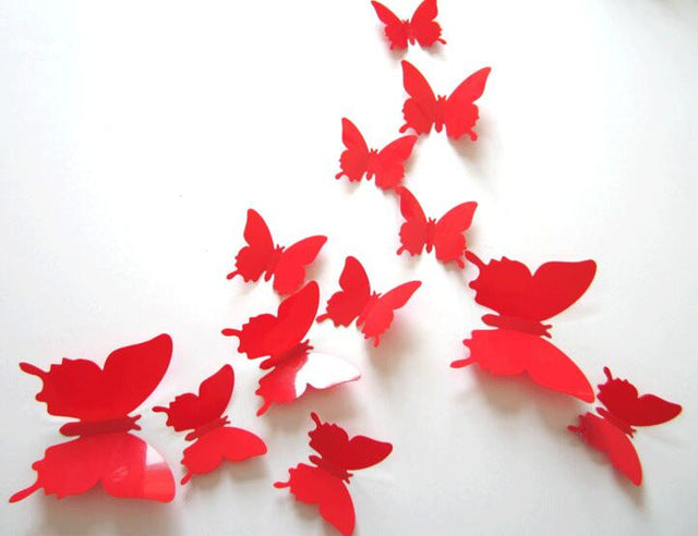 12pcs Art Design 3D Butterfly wedding decor Decal Wall Sticker Home Decor Room Decorations Free shipping
