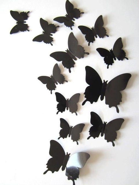 12 Pcs/Lot PVC 3D Magnet Butterfly Wall Stickers Butterflies Decors for Wedding Party Home Kitchen Fridge Decoration