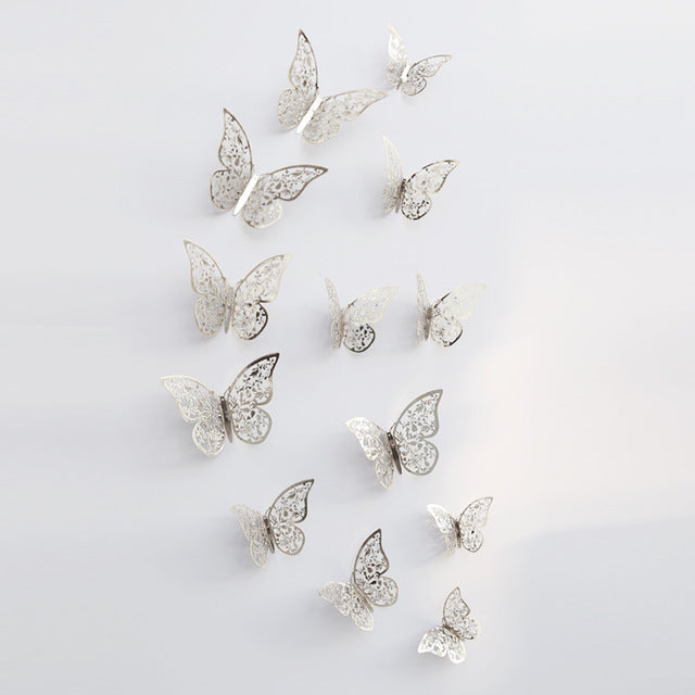 24pcs. Fashion Simple Paperboard Gold Hollow Butterfly 3D Wall Stickers Glass Bathroom Decor Wedding decoratiom
