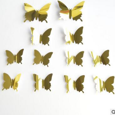12pcs/set 3D Butterfly Mirror Wall Stickers Sliver Gold Green Home Party Wedding Wall Decorating Sticker DIY Decoration Supplies
