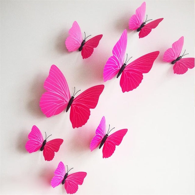 12pcs creative wedding decoration 3d fridge magnets butterfly decor wall sticker home decor living room kids window shop ETH002