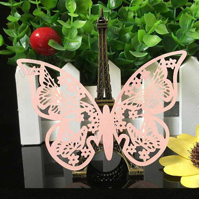 50pcs Butterfly laser cut wine glass card place card laser cut paper cup escort card for wedding birthday party home decoration