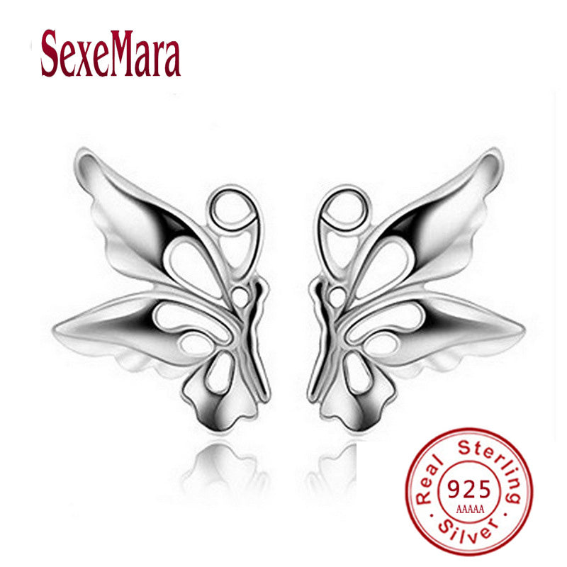 SexeMara brand New Fashion Accessories Silver Stainless Steel A pair of wings Stud Earring Vintage Charm Jewelry For Men Women