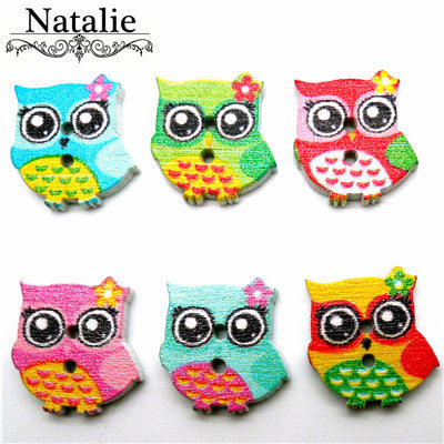 60PCs Wholesale Natural Wooden Buttons Colorful Mixed Animal Scrapbook Sewing Accessories DIY Craft 2 Holes butterfly owl