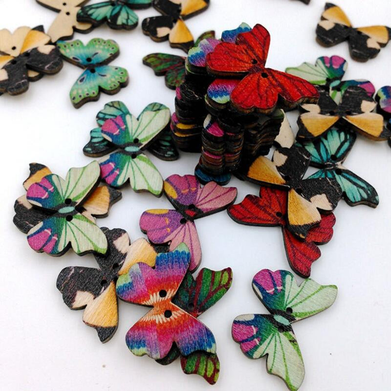 50 Pcs 28mm 2 Holes Colorful Butterflies Flower Panted Wood Buttons-, for Sewing, Scrapbooking, Embelishments, Crafts