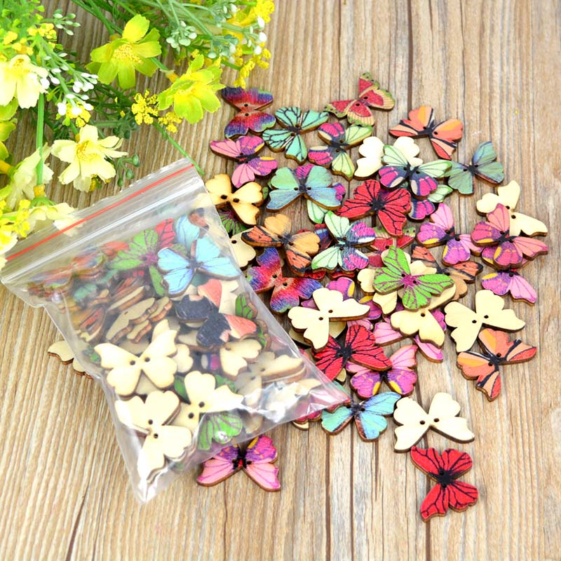 50Pcs Mixed Color Resin Butterfly Sewing Buttons DIY Scrapbooking Decor