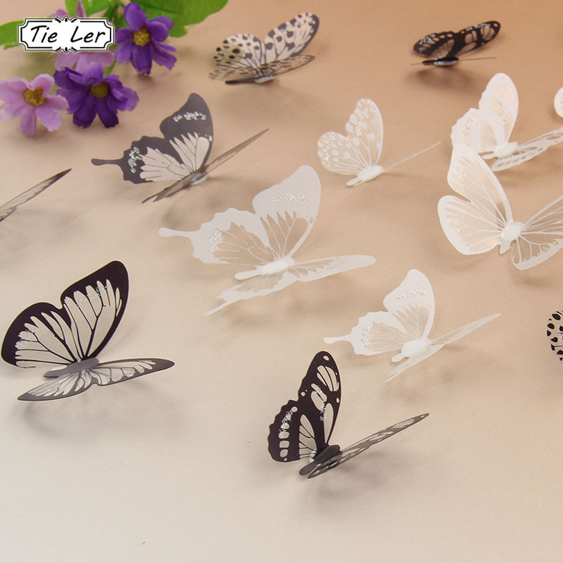 TIE LER 18PCS/set 3D Crystal Butterflies DIY Home Decor Wall Stickers for Kids Room Christmas Party Decoration Decal