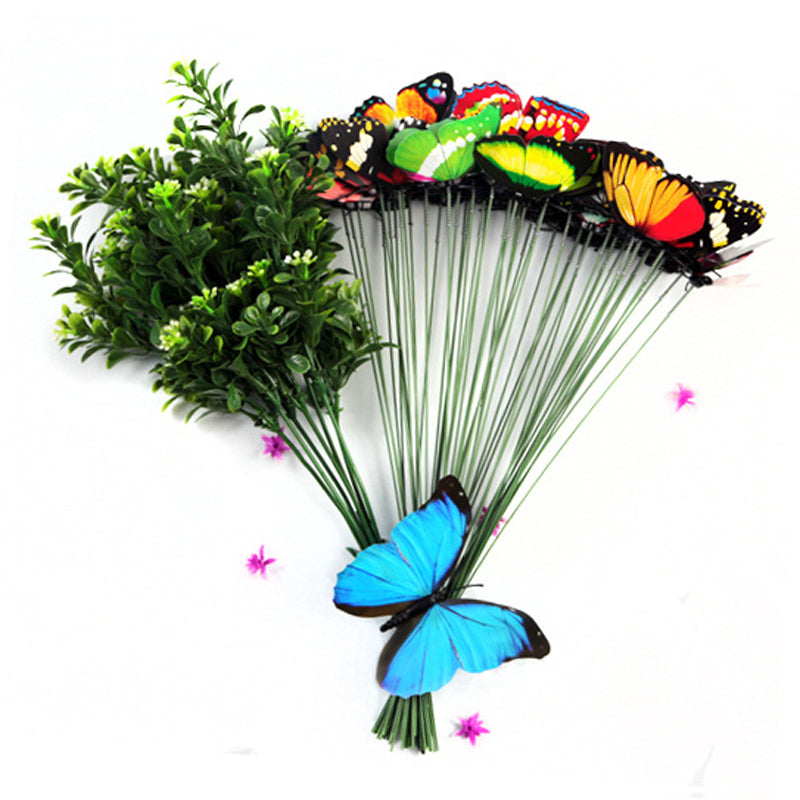 Garden Flower Decor Flower Stake Beautiful Garden Butterfly On Sticks Butterfly Picks Vase Lawn Craft Art DIY Decoration Random