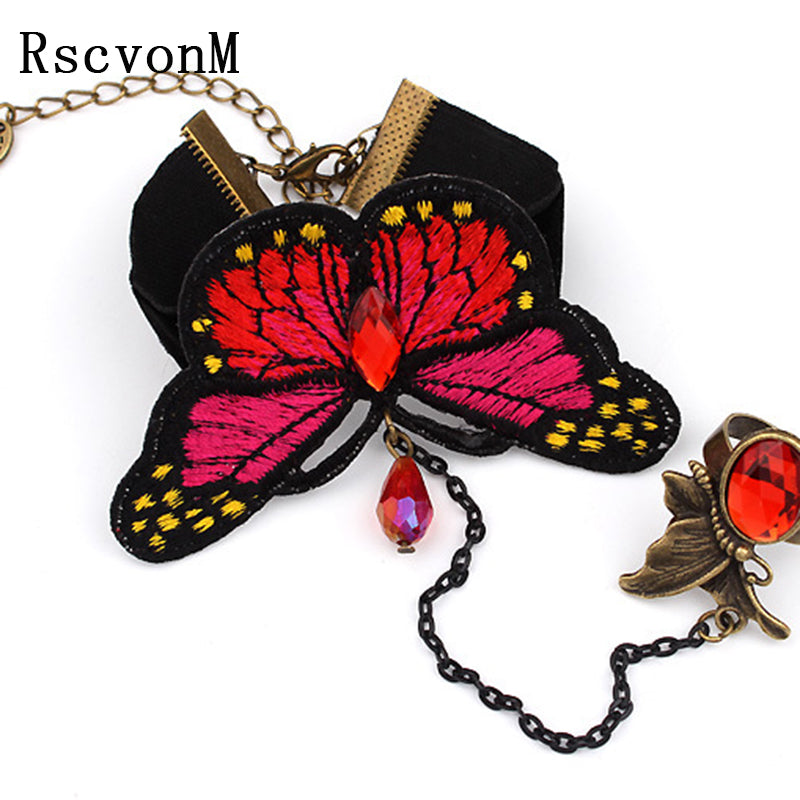Gothic Style Vintage Metal Sexy Woman Black Lace Bracelet Flying red Butterfly Crystal Bracelets for Women