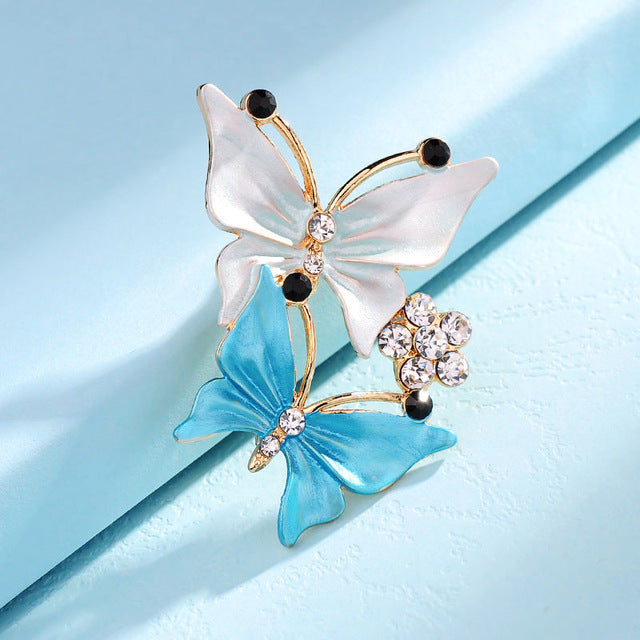 Rhinestones Double Butterfly Brooches Pin Clothing Accessories for Women Party Wedding Fashion Gold-Color Brooch Jewelry Gifts