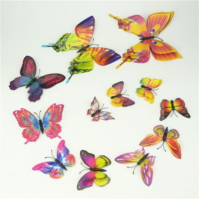 12pcs PVC Magnet 3D Butterfly Wall Sticker Decals Home Decor Poster For Kids Rooms Adhesive Wall Art Stickers Fridge Decoration