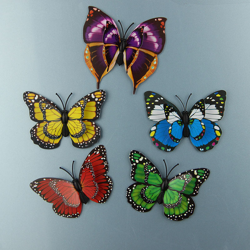 12Pcs/Lot 3D PVC Magnet Double Butterflies Fridge Magnet  DIY Wall Sticker Home Decor New Arrival