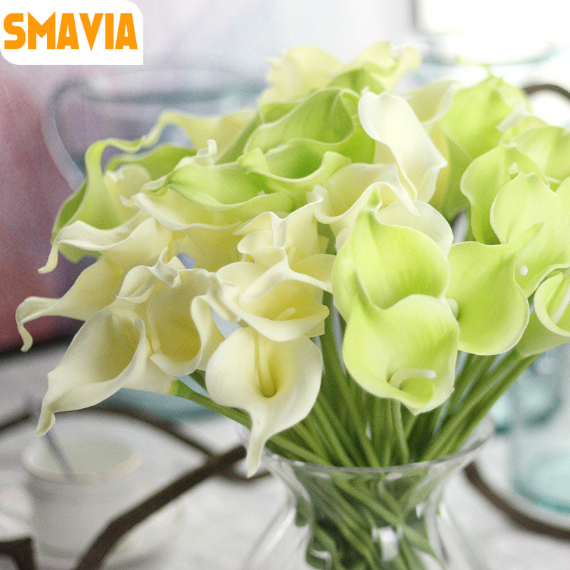SMAVIA 10pcs/lot Artificial PU Calla Lily Simulation Flowers for Wedding Party Banquets Decorative Flowers Home Decor 12 colors
