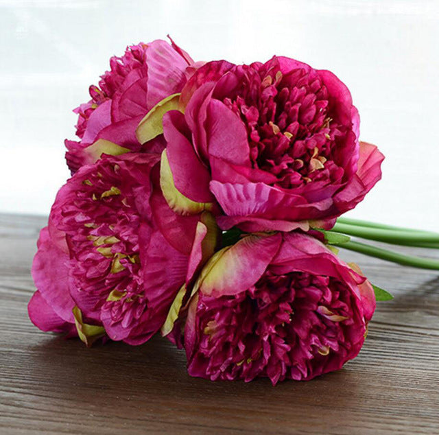 5 Heads Peonies Fake Flowers Artificial Flower Peony Bouquet Real Touch Silk flowers for Wedding Home Autumn Decor