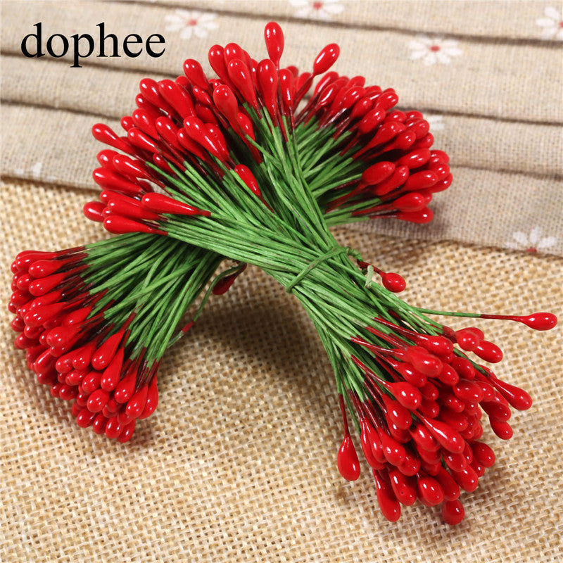dophee 100pcs red Flower Stamens DIY pearl flower stamen pistil 4mm floral stamen wedding box decoration